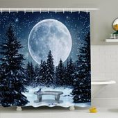 Winter Dreamy Winter Night with a Big Full Moon and Stars Lights the Darkness Shower Curtain Set – Accessories 5