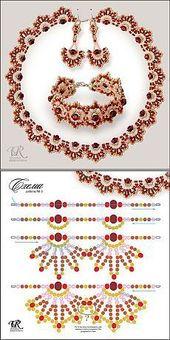 Jewelry set – necklace, er, bracelet with pattern # bracelet # necklace # pattern #sc …