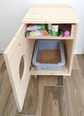 Cat litter box cover, pet furniture, cat house, modern litter box spruce cabinet