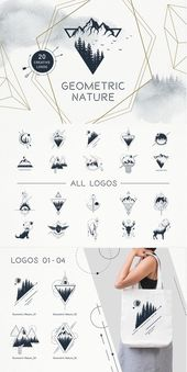 Geometric Nature is a set of 20 logos and badges i…