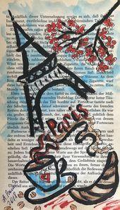 Aquarell Acryl Malerei Auf Alte Buchseiten Kunst Creativ Art