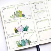 Wöchentliche Aufzählungs-Journal-Spreads, um jede Woche organisiert zu bleiben