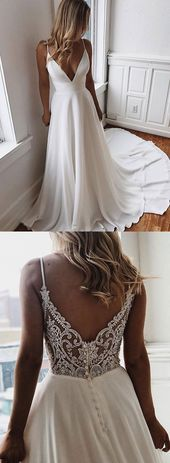 Weißes langes Kleid aus Chiffon-Spitze mit V-Ausschnitt, Abendkleid – trendty