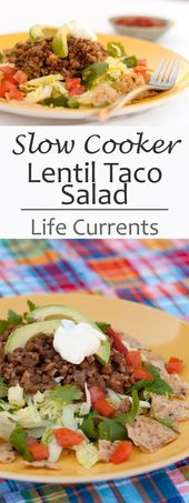 A delicious and easy recipe for Slow Cooker Vegetarian Lentil Taco Salad that yo…