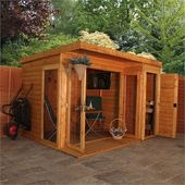 Mercia 10x8ft Garden Room With Side Shed Homebase In 2020 Summer House Garden Contemporary Garden Rooms Garden Room