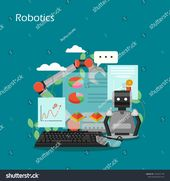 Robotics Vector Flat Style Design Illustration Stock Vector (Royalty Free) 1355657138