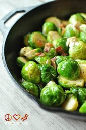 Skillet Roasted Bacon Brussels Sprouts with Garlic Parmesan Cream Sauce   – Potates / Vegs/Meatballs/Sausage/Rice