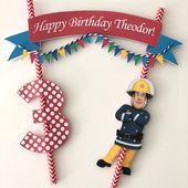 Paquete de topper de pastel de bombero Sam / Topper de pastel de bombero / Cumpleaños de Sam de bombero / Fiesta de Sam de bombero / Personalizado / Decoración de pastel de Sam de bombero   – Geburtstag