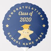 Class of 2020 Royal Blue and Gold Graduation Party Balloon | Zazzle.com