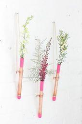 jolie combinaison du rose et du cuivre petit vase tube essai suspendu au mur - Decoration Tube A Essai Mariage