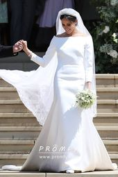 Meghan Markle White Satin Long Sleeve Trumpet Celebrity Long Wedding Dress