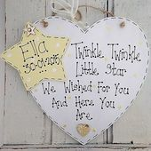 Baby Showers Twinkle Personalised Twinkle Twinkle Little Star Handmade Heart Plaque Baby Gift | eBay