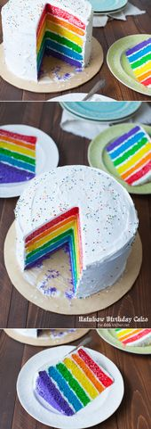 Pastel de cumpleaños del arco iris de thelittlekitchen.net   – a kuchen