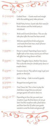 Bleiben Sie auf dem großen Tag pünktlich … Planen Sie Ihren Hochzeitsempfang Timeline So youu2 …. – Feierlichkeiten