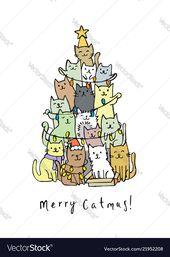 Weihnachtsbaum mit Katzen Lizenzfreie Vektorgrafiken, #Affiliate, #cats, #tree, # …