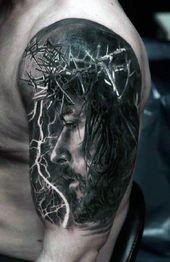 60 3D Jesus Tattoo Designs für Männer – religiöse Tinte Ideen