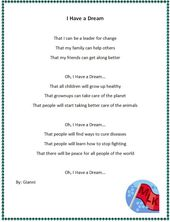 Computer Project I Have A Dream Poem Example I Have A Dream Poems Lesson Plans