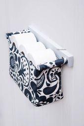Decorative toilet paper holder – toilet organizer – tissue holder – bathroom organizer modern scandinavian style with spoon flowers fabric   – Bastelideen