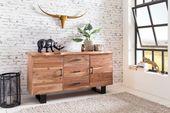 WOHNLING Sideboard GAYA 160 x 84 x 46 cm Massiv-Holz Akazie Natur Baumkante Anri…
