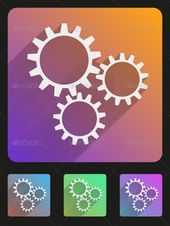 Basic mechanic gears simple Flat icon set for Web and Mobile Application. Illustration of technology. Vector, editable and isolate