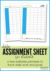 Assignment Sheet For Students Free Printables Assignment Sheet Homeschool Lesson Planner Homeschool Student Planner