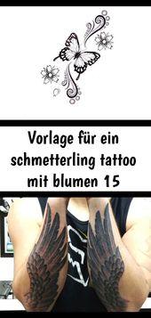Vorlage für ein schmetterling tattoo mit blumen 15