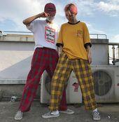 2018 spring fashion women's pants Korean version INS Harajuku style loose full length plaid mid waist  streetwear wide leg pants