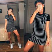 Summer Beach Holiday Stripes Printed Round Necked Short Sleeve Casual Party Playsuit Clubwear Bodycon Boho Dress – Moda
