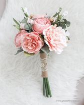 Daimeter 9″ Bespoke Peach Paper Bridal Bouquet – Peach & Gold, Alternative Wedding – wedding