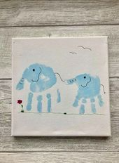 Elefanten-Handabdrücke – Geschwisterbild auf Lein… – #arbeitsplatte #auf #Ele…