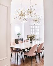 Dining room inspiration with a pink gold and neutr…