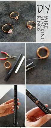 How To Make DIY Dainty Stacking Wire Rings,  #Dainty #DIY #Rings #Stacking #Wire #wirejewelry…