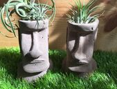 MOAI concrete mini planter, air plant holder inspired by the heads of Easter Island!