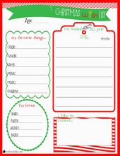 kids christmas list template