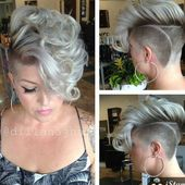 Are there also ladies here who like a mohawk with shaved sides? Be amazed by these 10 short haircuts with a very fat Mohawk! -…