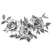 Drei schöne Rosen – temporäre Tätowierung / realistische Rosen Tattoo / schwarze Rosen / drei Rosen / große Rosen Tattoo / floral temporäre Tätowierung – Blumen Rosen