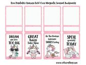 Free Kawaii Unicorn Printable Magnetic Bookmarks