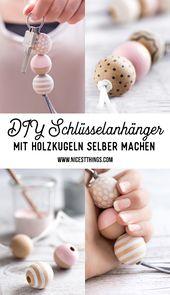 DIY Schlüsselanhänger mit Holzperlen selber machen / Geschenkidee zum Einzug: Brot & Salz
