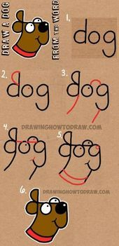 Wie zeichnet man einen Hund aus dem Wort Hund – Easy Step by Step Drawing Tutorial für Kid … – #drawing #einen #tutorial #zeichnet –