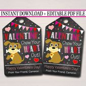 EDITABLE Valentine Chow Your Heart Out Dog Label, Teacher Friend Kids Classroom Printable, Valentine Puppy Chow Treat Tags, INSTANT DOWNLOAD