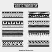 Maori tribal tattoo collection Free Vector