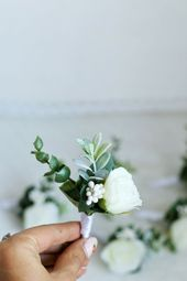 Hochzeit weiße Boutonniere Schnur für Gäste Eukalyptus Bräutigam Rose Prom Grün 7 Zoll Blume Hoop Bouquet Braut Verlobten   – Wedding Floral