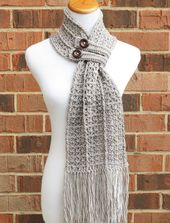 CROCHET SCARF PATTERN Crochet Cowl Button Scarf Neckwarmer Pattern Instant Download English Only – Hartford Buttoned Scarf