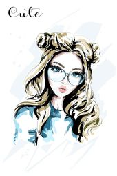 Hand Drawn Beautiful Young Woman In Sunglasses. Cute Girl With Stylish Hairstyle. Fashion Woman. Stock Vector – Illustration of girl, drawing: 104771247