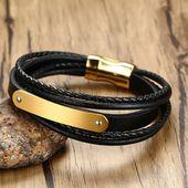 The legend of zelda men's bracelets black braided genuine leather cuff brace…   – Products