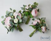 Hochzeitsstrauß, Hochzeitsblumen, Boho Bouquet, Brautstrauß, rosa, Pfingstrosen, weiß, Eukalyptus, Hochzeit Blumensatz, Hochzeit am Bestimmungsort   – All Wedding Ideas