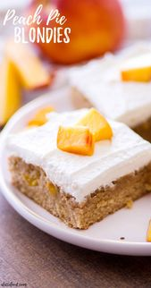 These summery peach pie blondies are topped with a sweet homemade whipped cream …
