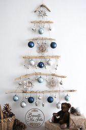 Driftwood christmas tree wall hanging, Wood farmhouse decorations, Holiday wall decor
