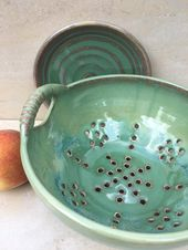 Pottery Colander with handles and saucer, Ceramic Fruit Stainer with drip plate, Large Berry Bowl, Green Porcelain Colander, Foodie Gift