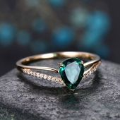 Pear Cut Emerald Engagement Ring 14K Gel …